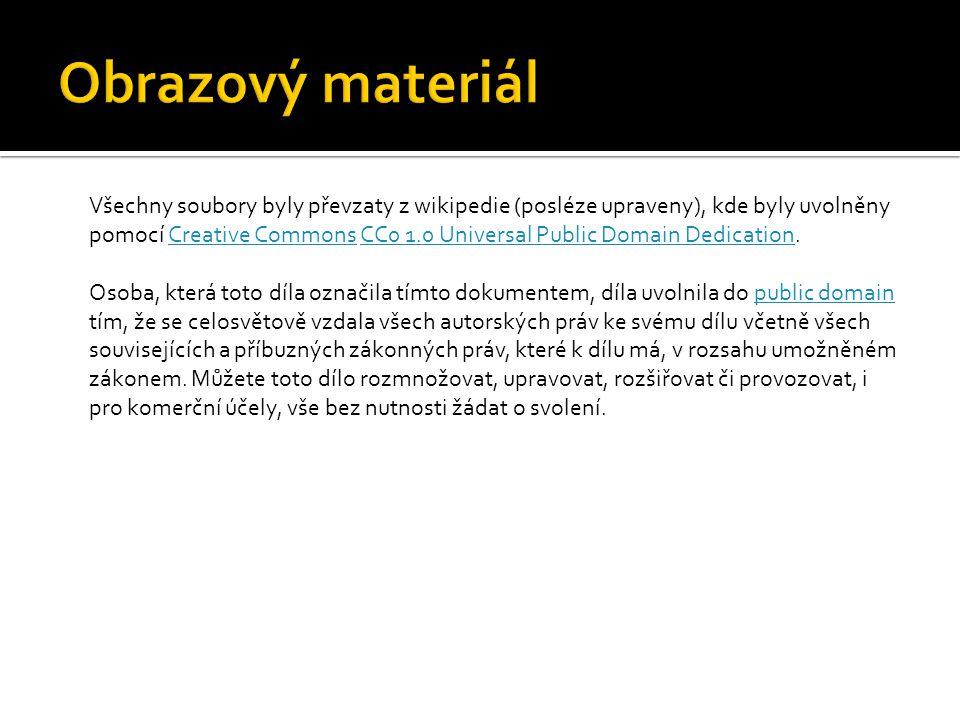 Všechny soubory byly převzaty z wikipedie (posléze upraveny), kde byly uvolněny pomocí Creative Commons CC0 1.0 Universal Public Domain Dedication.Cre