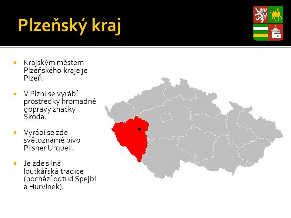  Krajským městem Plzeňského kraje je Plzeň.  V Plzni se vyrábí prostředky hromadné dopravy značky Škoda.  Vyrábí se zde světoznámé pivo Pilsner Urq