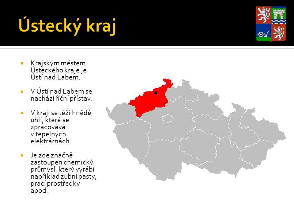  Krajským městem Ústeckého kraje je Ústí nad Labem.  V Ústí nad Labem se nachází říční přístav.  V kraji se těží hnědé uhlí, které se zpracovává v