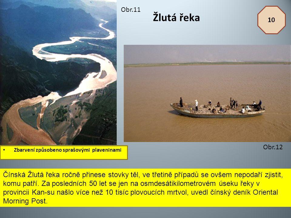 Žlutá řeka Zbarvení způsobeno sprašovými plaveninami 10 Obr.11 Obr.12 Čínská Žlutá řeka ročně přinese stovky těl, ve třetině případů se ovšem nepodaří
