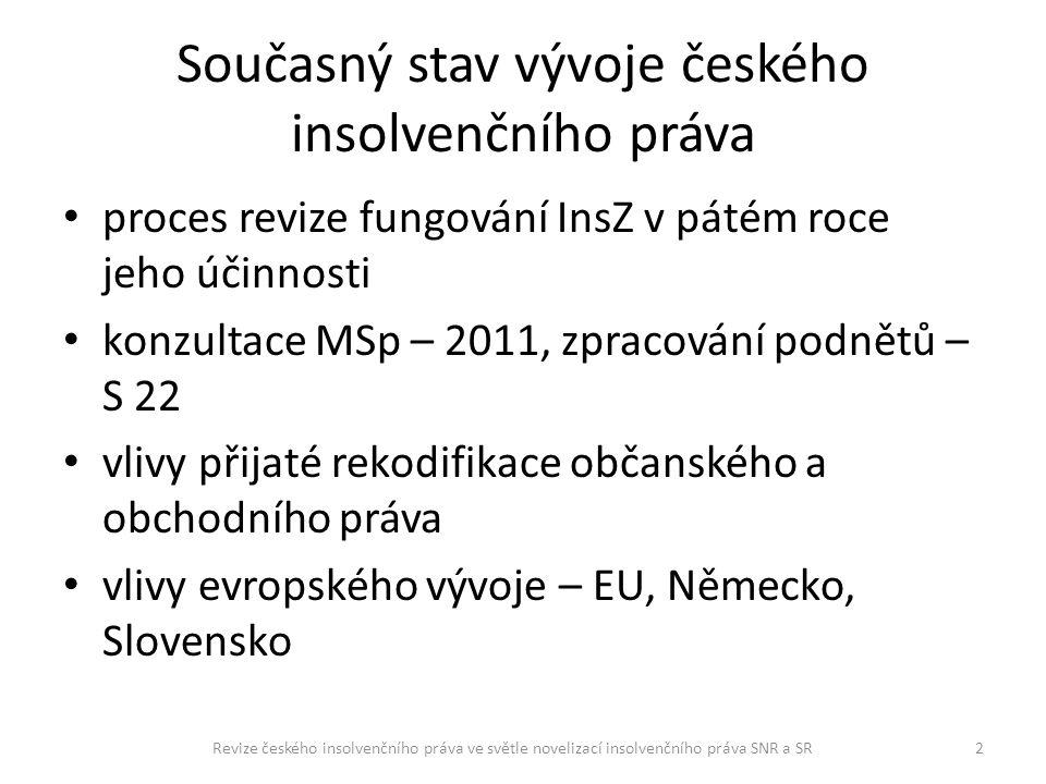 Současný stav vývoje českého insolvenčního práva proces revize fungování InsZ v pátém roce jeho účinnosti konzultace MSp – 2011, zpracování podnětů –