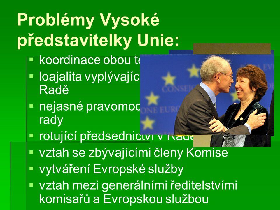 Problémy Vysoké představitelky Unie:   koordinace obou témat   loajalita vyplývající z pozice v Komisi a Radě   nejasné pravomoci s předsedou Ev