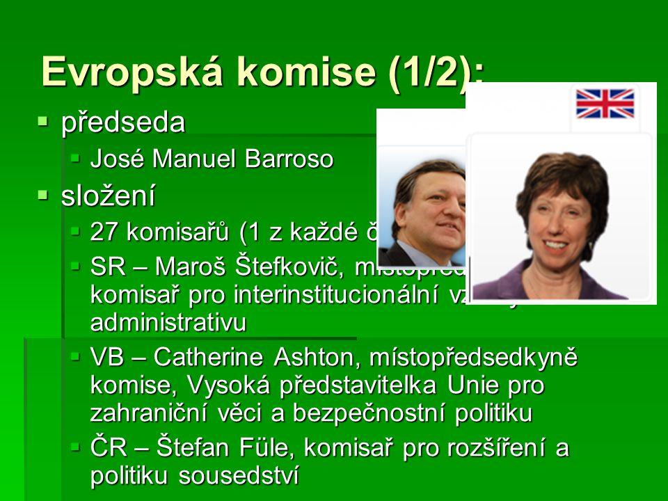 Evropská komise (2/2):  hlavní funkce  předkládat návrhy právních předpisů Parlamentu a Radě  řídit a provádět politiky EU a plnit rozpočet  vymáhat zákony EU (spolu se Soudním dvorem)  zastupovat EU na mezinárodní scéně  základní pravomoci  výkonná  zákonodárná  kontrolní