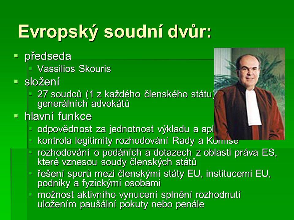 Evropský soudní dvůr:  předseda  Vassilios Skouris  složení  27 soudců (1 z každého členského státu) a 8 generálních advokátů  hlavní funkce  od
