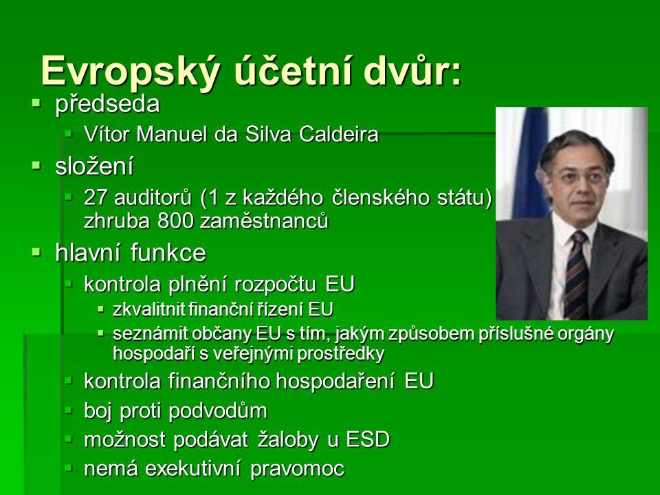 Evropský účetní dvůr:  předseda  Vítor Manuel da Silva Caldeira  složení  27 auditorů (1 z každého členského státu) a dalších zhruba 800 zaměstnan