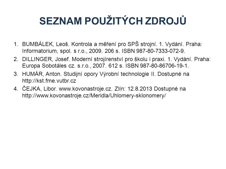 1.BUMBÁLEK, Leoš. Kontrola a měření pro SPŠ strojní. 1. Vydání. Praha: Informatorium, spol. s r.o., 2009. 206 s. ISBN 987-80-7333-072-9. 2.DILLINGER,