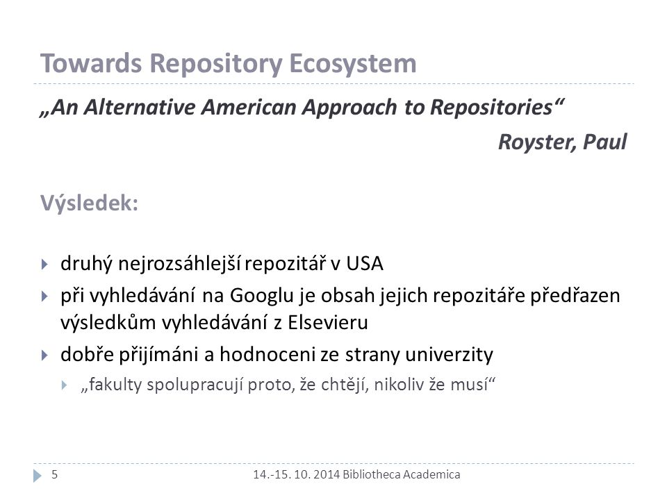 Towards Repository Ecosystem 14.-15. 10.