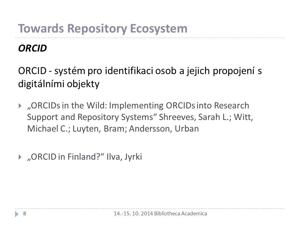 Towards Repository Ecosystem 14.-15. 10. 2014 Bibliotheca Academica ORCID ORCID - systém pro identifikaci osob a jejich propojení s digitálními objekt