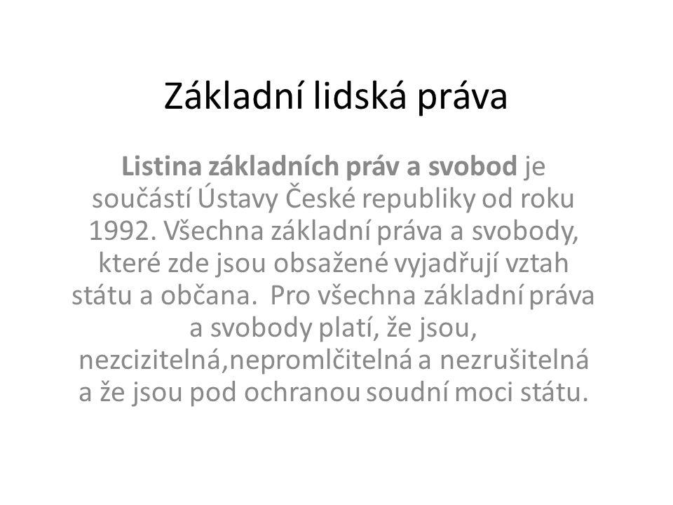 Základní lidská práva Listina základních práv a svobod je součástí Ústavy České republiky od roku 1992.