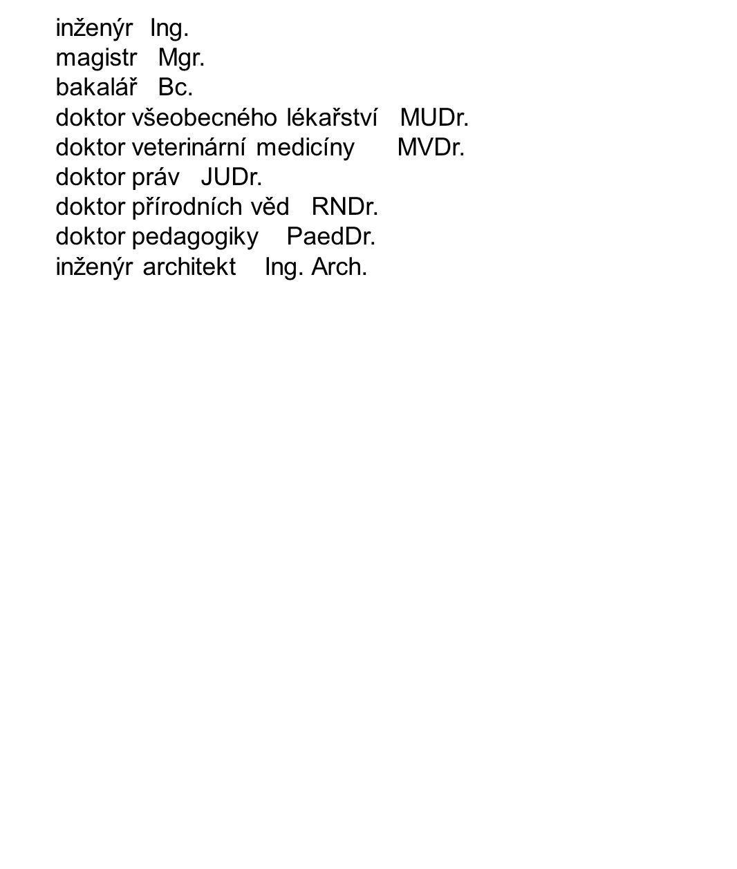 inženýr Ing. magistr Mgr. bakalář Bc. doktor všeobecného lékařství MUDr.