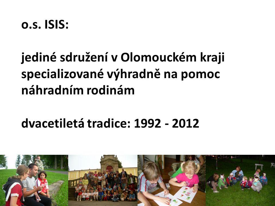 o.s. ISIS: jediné sdružení v Olomouckém kraji specializované výhradně na pomoc náhradním rodinám dvacetiletá tradice: 1992 - 2012