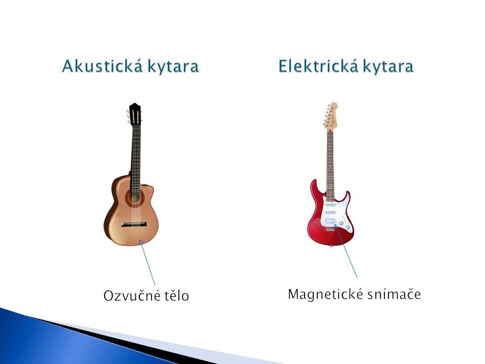  Elektrické kmity jsou z kytary odvedeny do zesilovače, který je zesílí.