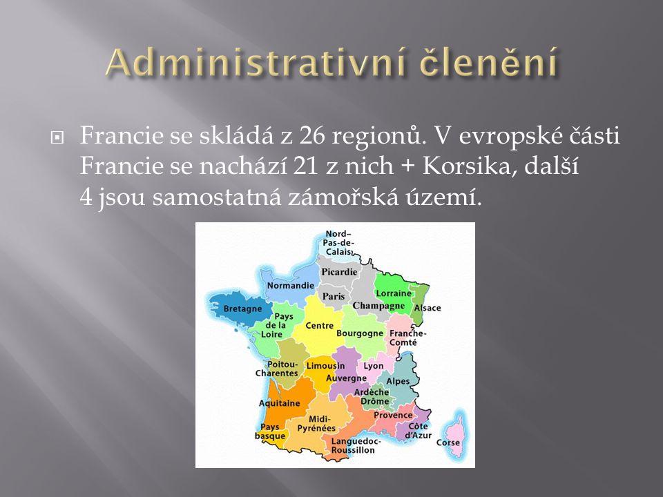  Francie se skládá z 26 regionů. V evropské části Francie se nachází 21 z nich + Korsika, další 4 jsou samostatná zámořská území.