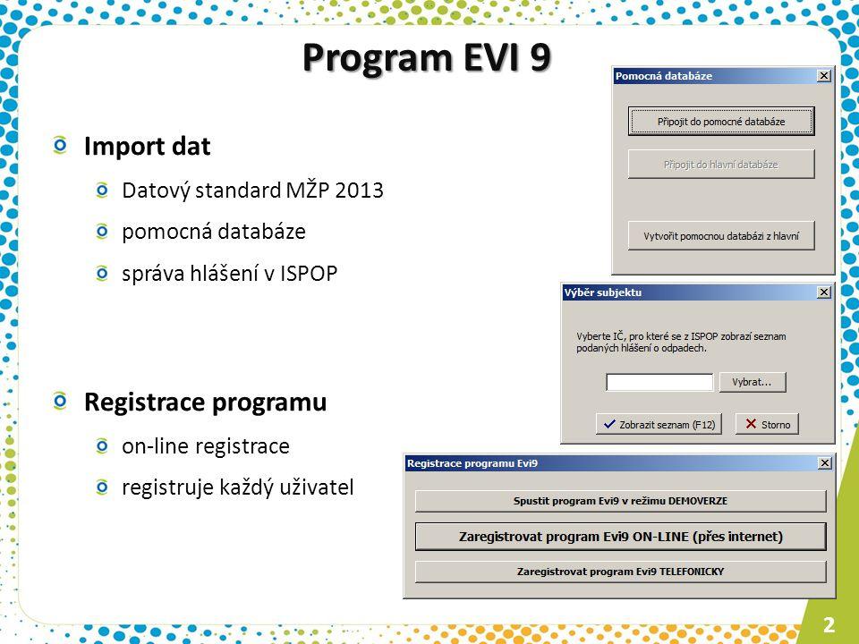 Program EVI 9 Import dat Datový standard MŽP 2013 pomocná databáze správa hlášení v ISPOP Registrace programu on-line registrace registruje každý uživatel 2