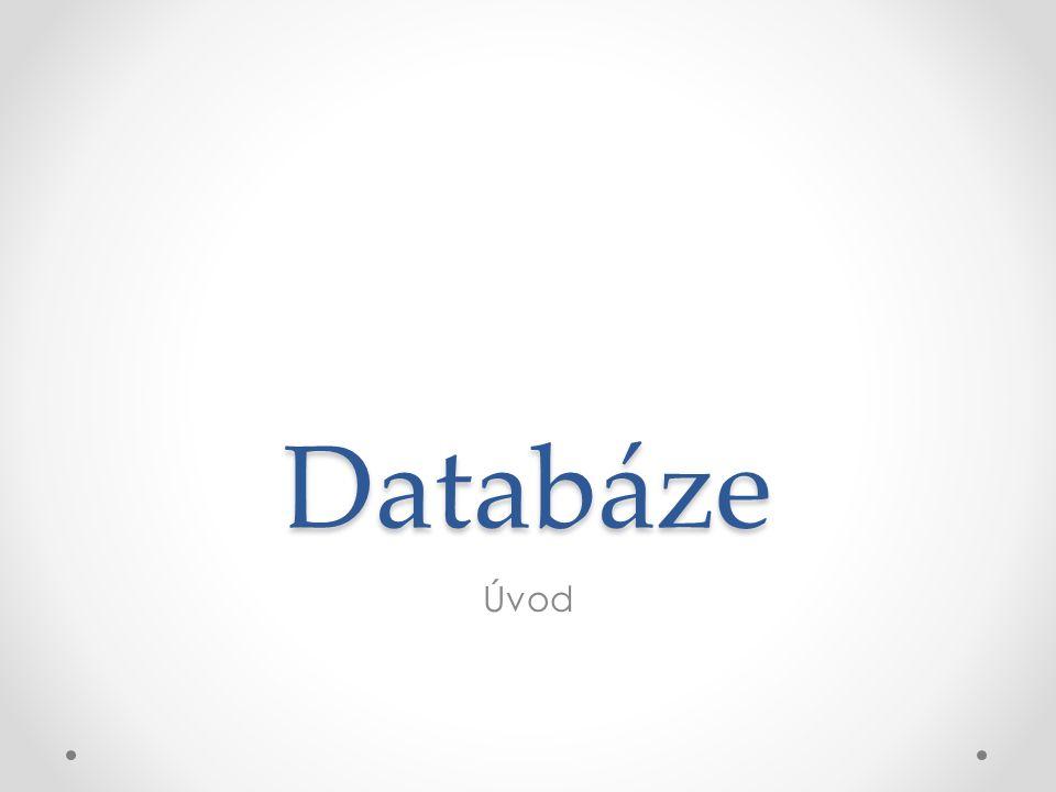 Základní pojmy Databázi si lze představit jako soubor dat, který slouží pro popis reálného světa (např.