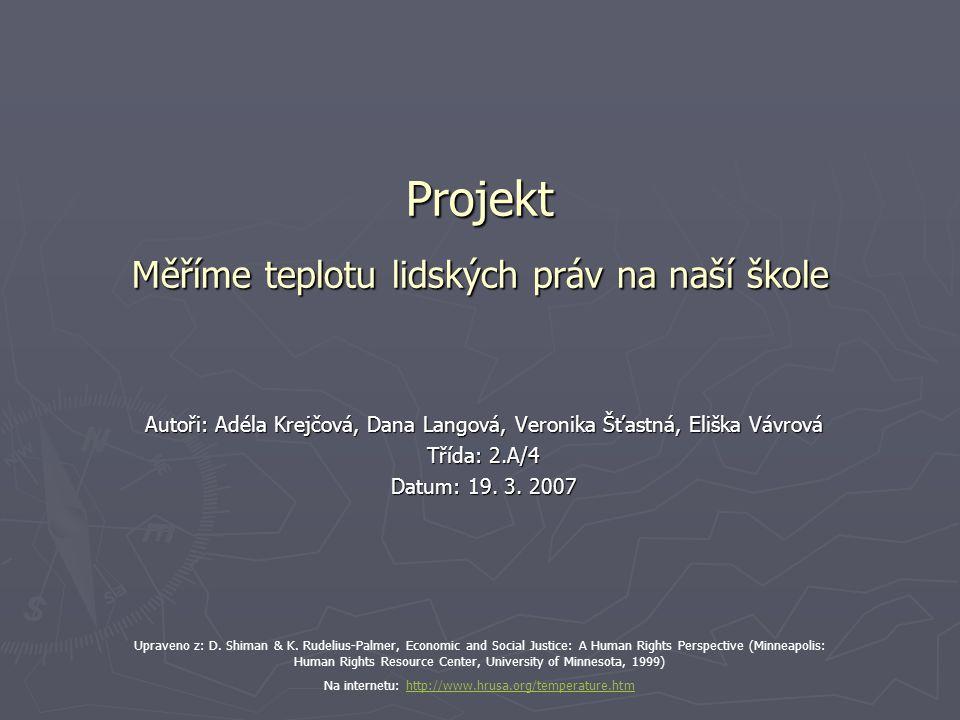Projekt Měříme teplotu lidských práv na naší škole Autoři: Adéla Krejčová, Dana Langová, Veronika Šťastná, Eliška Vávrová Třída: 2.A/4 Datum: 19.