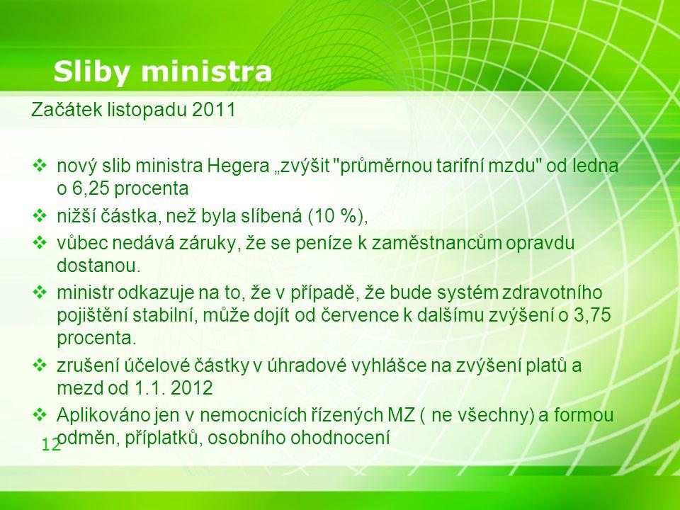 """12 Sliby ministra Začátek listopadu 2011  nový slib ministra Hegera """"zvýšit průměrnou tarifní mzdu od ledna o 6,25 procenta  nižší částka, než byla slíbená (10 %),  vůbec nedává záruky, že se peníze k zaměstnancům opravdu dostanou."""
