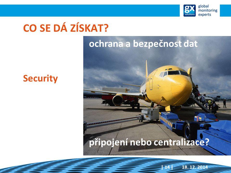 Security 18. 12. 2014| 14 | CO SE DÁ ZÍSKAT? ochrana a bezpečnost dat připojení nebo centralizace?