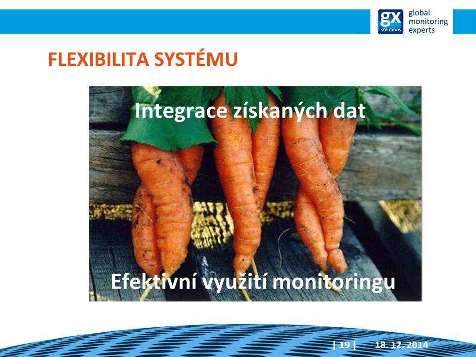 FLEXIBILITA SYSTÉMU Integrace získaných dat Efektivní využití monitoringu 18. 12. 2014| 19 |