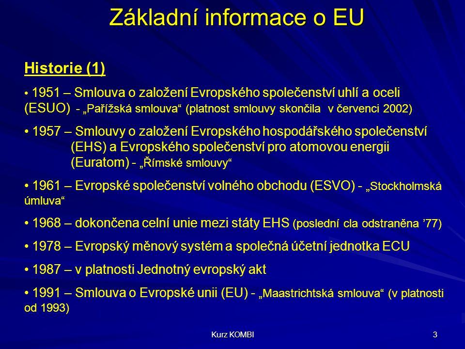 Kurz KOMBI 4 Základní informace o EU Historie (2) 1992 – dohoda o vytvoření Evropského hospodářského prostoru (mezi EHS a ESVO) 1993 – odstranění daňových kontrol na hraničních přechodech 1995 – v platnosti Schengenské dohody o odstranění kontrol na vnitřních hranicích (Francie, Německo, Portugalsko, Španělsko, Benelux) 1997 – Amsterodamská smlouva (revize Smlouvy o EU, platnost od 1999) 1997 – Agenda 2000 (reformy nutné k rozšíření EU) 1999 – EURO je oficiální měnou (bankovní operace)