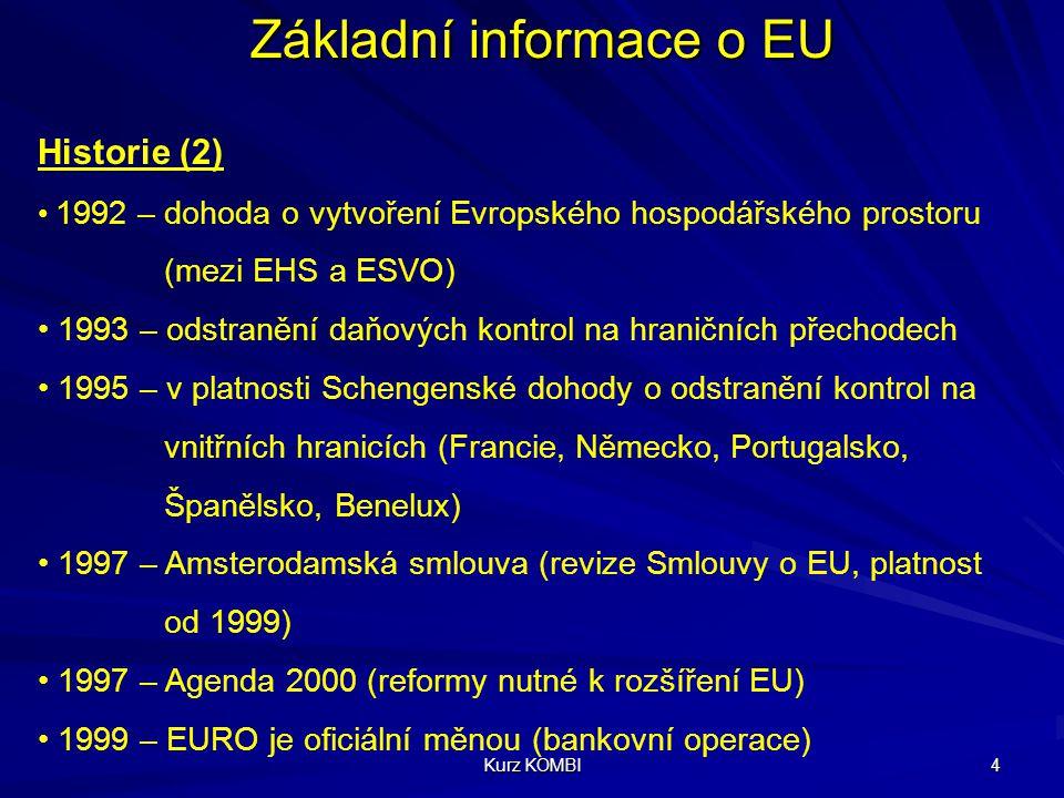 Kurz KOMBI 5 Základní informace o EU Historie (3) 2000 – summit v Nice (nová smlouva o ES/EU, Charta základních práv občanů EU, reforma institucí ES/EU) 2002 – 12 států Eurozóny používá Euro (bankovky, mince) 2002 – (prosinec) Kodaňský summit (deklarace Jedna Evropa, 10 nových členů) 2002 – 2003 – referenda o vstupu 2004 – Lisabonská smlouva – Evropská ústava, boj proti terorismu 1.5.