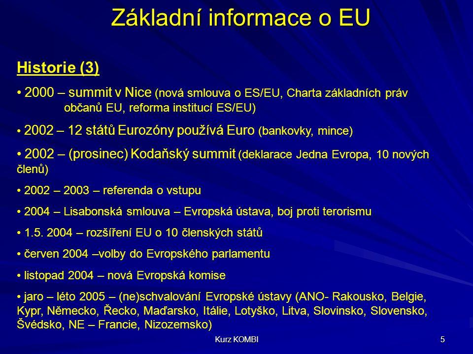Kurz KOMBI 5 Základní informace o EU Historie (3) 2000 – summit v Nice (nová smlouva o ES/EU, Charta základních práv občanů EU, reforma institucí ES/E