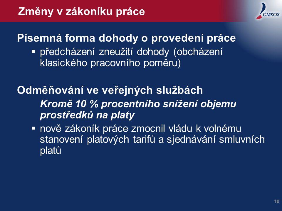 Změny v zákoníku práce Písemná forma dohody o provedení práce  předcházení zneužití dohody (obcházení klasického pracovního poměru) Odměňování ve veř