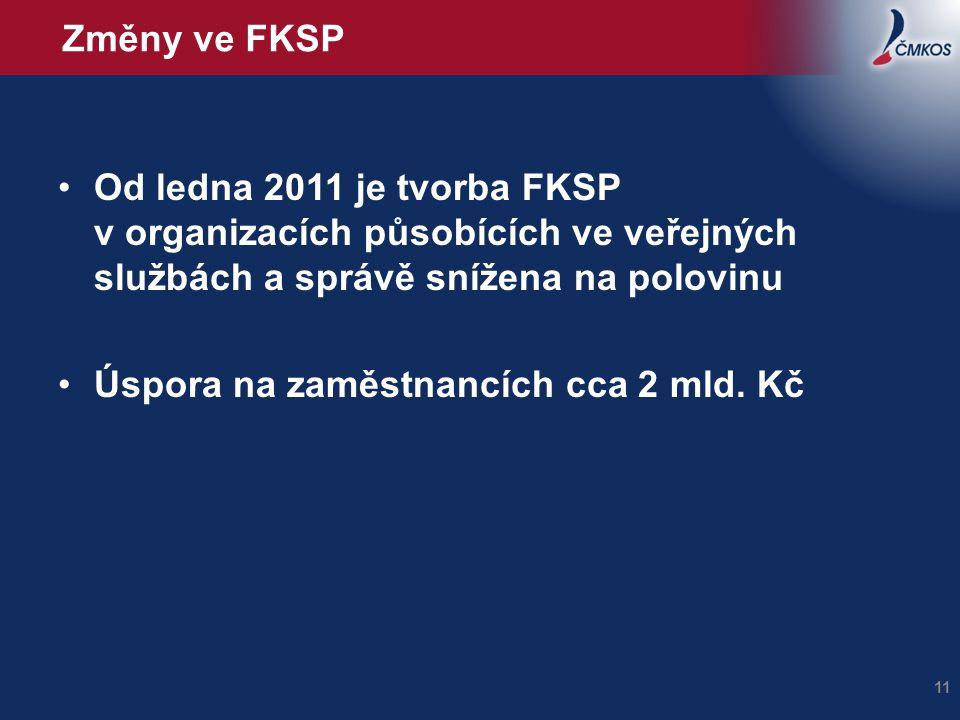 Změny ve FKSP Od ledna 2011 je tvorba FKSP v organizacích působících ve veřejných službách a správě snížena na polovinu Úspora na zaměstnancích cca 2
