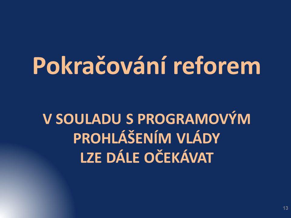 V SOULADU S PROGRAMOVÝM PROHLÁŠENÍM VLÁDY LZE DÁLE OČEKÁVAT Pokračování reforem 13