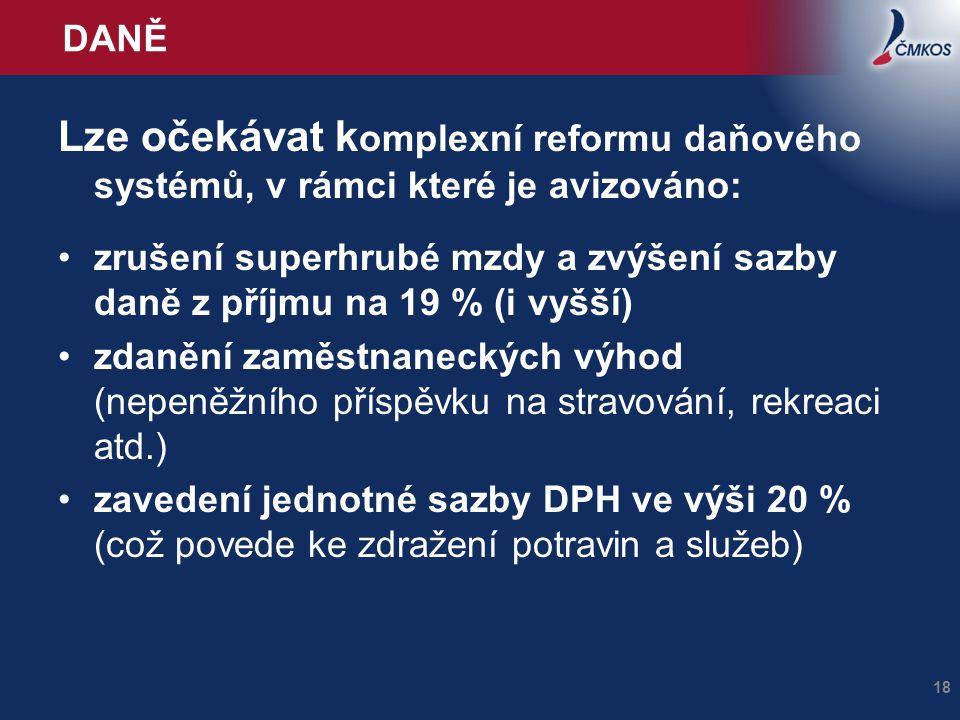 DANĚ Lze očekávat k omplexní reformu daňového systémů, v rámci které je avizováno: zrušení superhrubé mzdy a zvýšení sazby daně z příjmu na 19 % (i vy