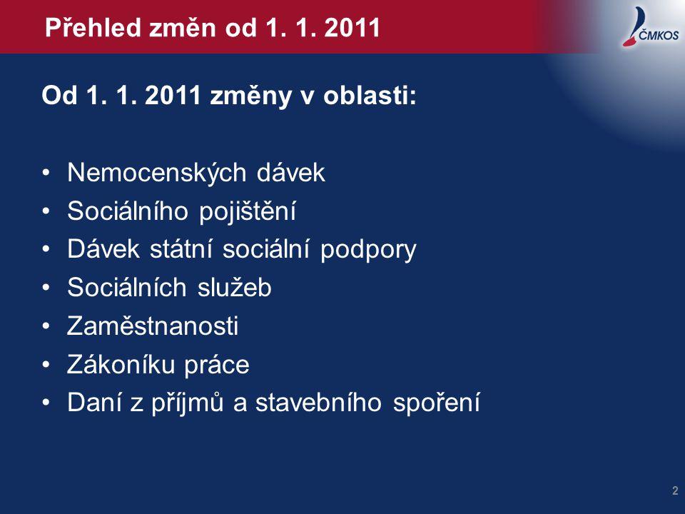 Přehled změn od 1. 1. 2011 Od 1. 1. 2011 změny v oblasti: Nemocenských dávek Sociálního pojištění Dávek státní sociální podpory Sociálních služeb Zamě