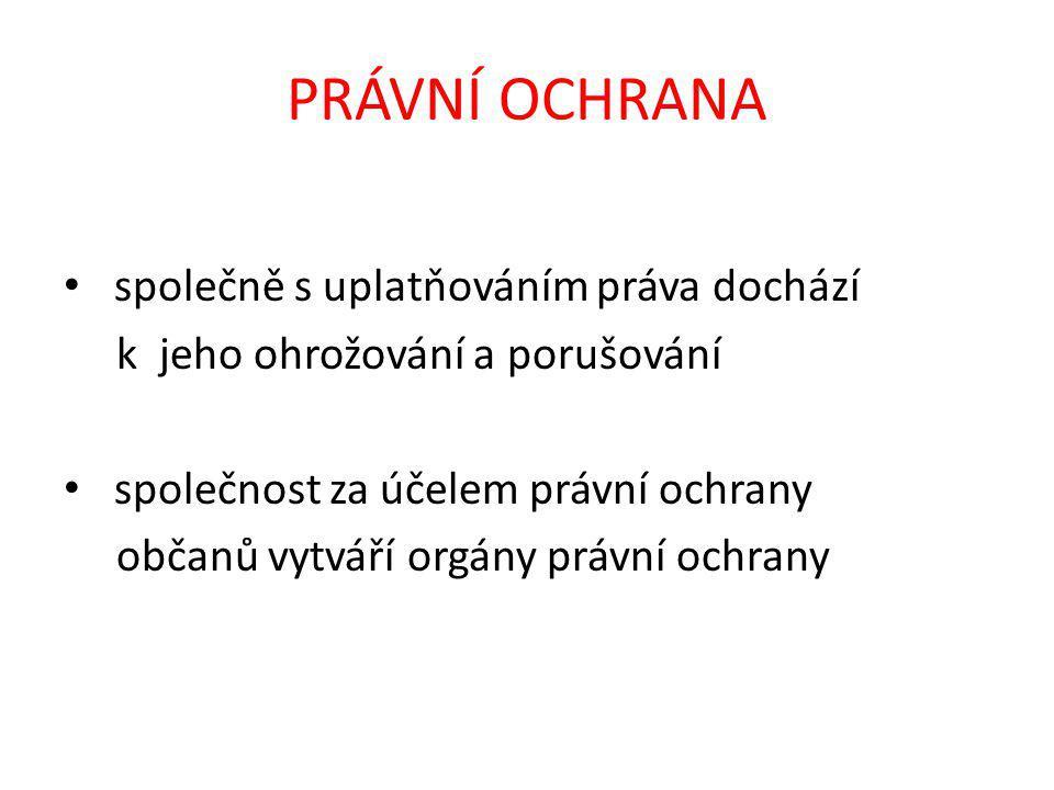 ORGÁNY PRÁVNÍ OCHRANY základní orgány právní ochrany v ČR - policie - státní zastupitelství - soudy v některých případech mohou zakročovat - obce - obecní úřady - další orgány státní správy