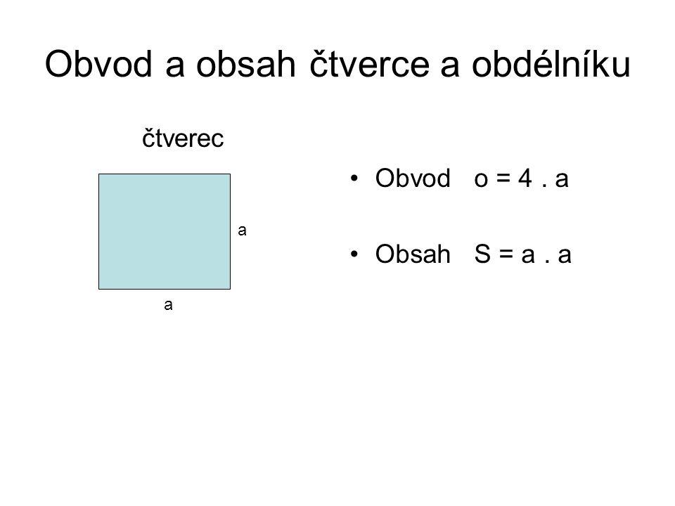 Obvod a obsah obdélníku Obdélník Obvod o = 2. ( a + b) o = 2.a + 2.b Obsah S = a. b b a