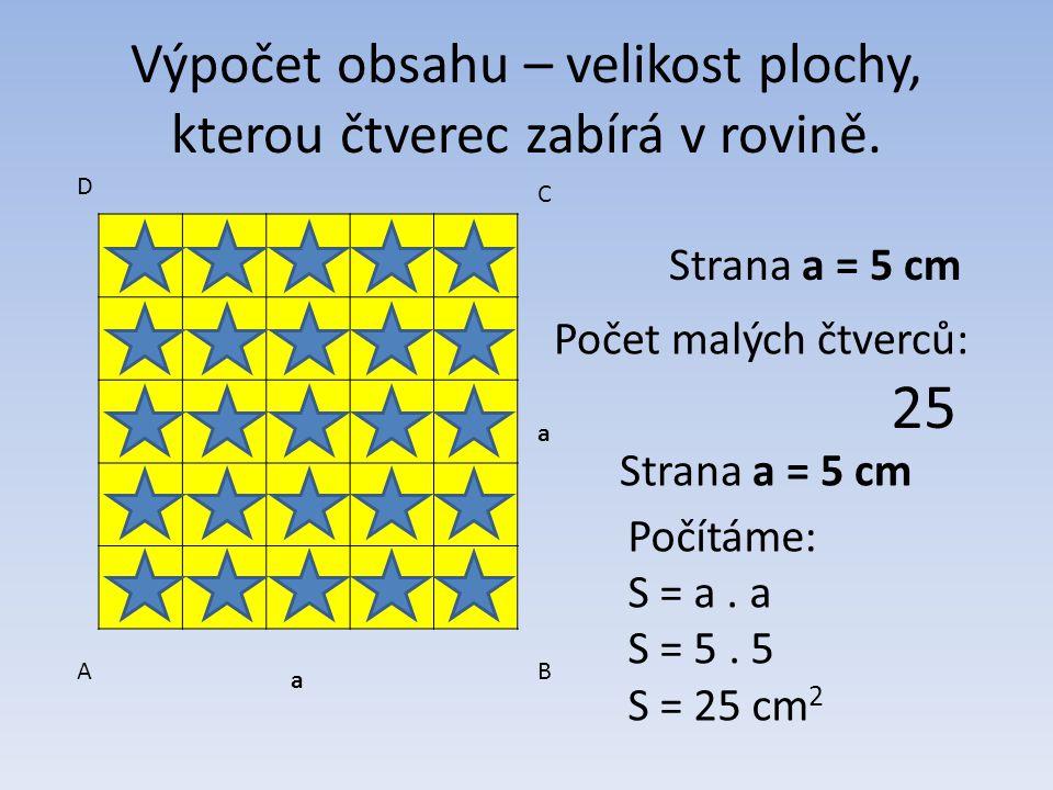 Výpočet obsahu – velikost plochy, kterou čtverec zabírá v rovině.