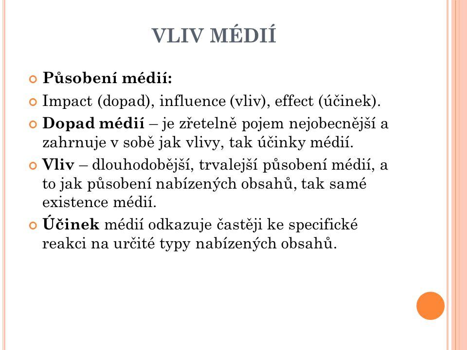 VLIV MÉDIÍ Působení médií: Impact (dopad), influence (vliv), effect (účinek). Dopad médií – je zřetelně pojem nejobecnější a zahrnuje v sobě jak vlivy