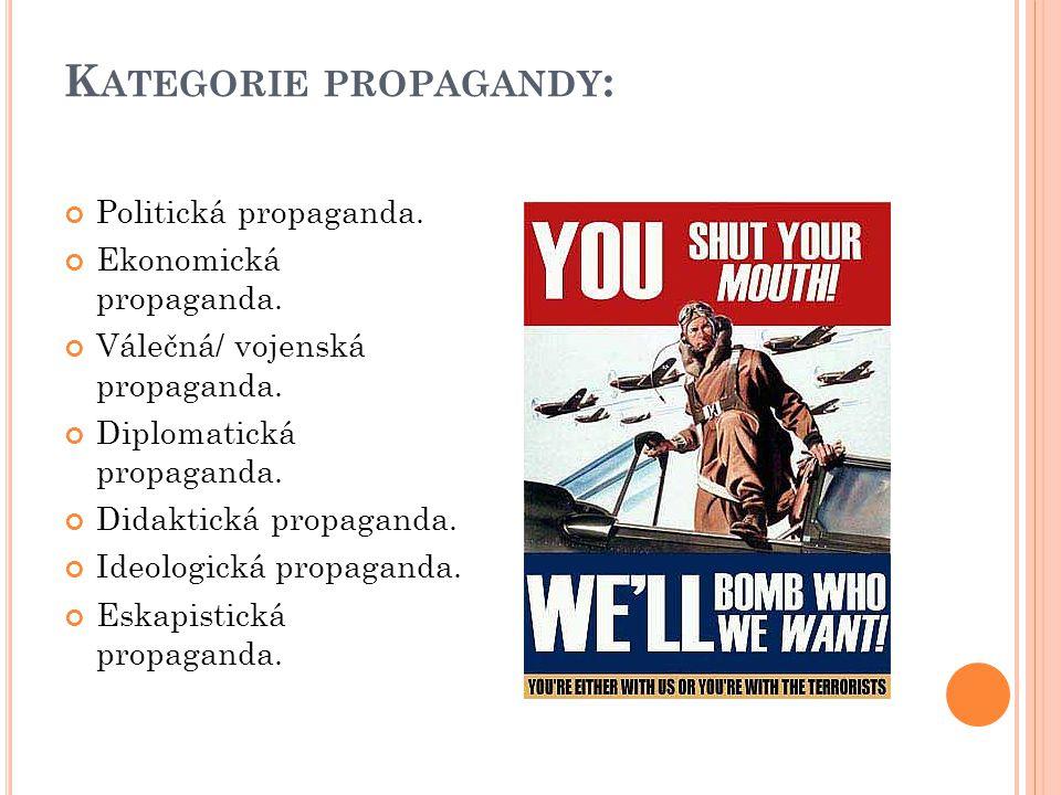 K ATEGORIE PROPAGANDY : Politická propaganda. Ekonomická propaganda. Válečná/ vojenská propaganda. Diplomatická propaganda. Didaktická propaganda. Ide