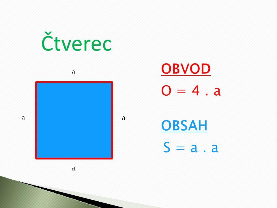 Čtverec a a aa OBVOD O = 4. a OBSAH S = a. a