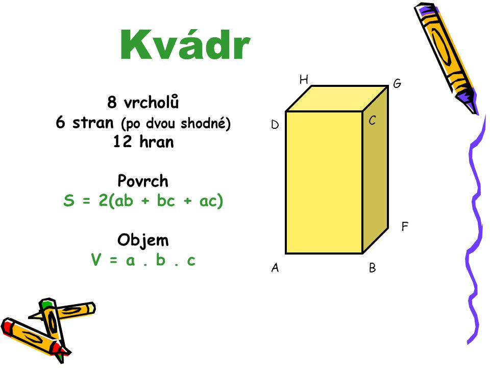Řešení slovní úlohy: 2. Příklad S = 6. a. a S = 6. 3. 3 S = 54 dm 2 Na potažení stěn sedačky je potřeba 54 m 2 látky. 1. Příklad Povrch S = 6. a. a S