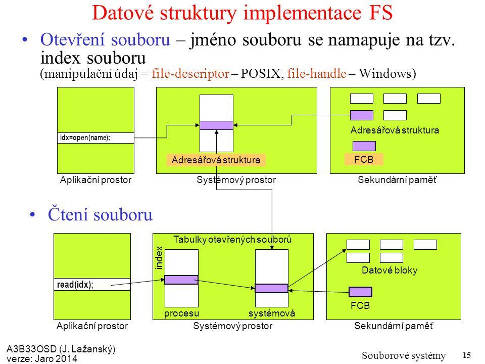A3B33OSD (J. Lažanský) verze: Jaro 2014 Souborové systémy 15 Datové struktury implementace FS Otevření souboru – jméno souboru se namapuje na tzv. ind