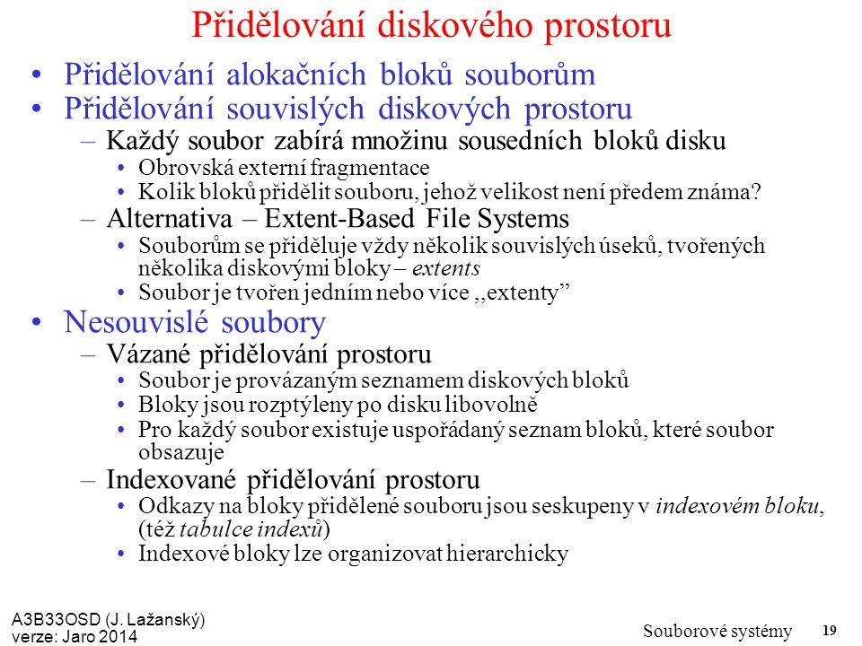 A3B33OSD (J. Lažanský) verze: Jaro 2014 Souborové systémy 19 Přidělování diskového prostoru Přidělování alokačních bloků souborům Přidělování souvislý