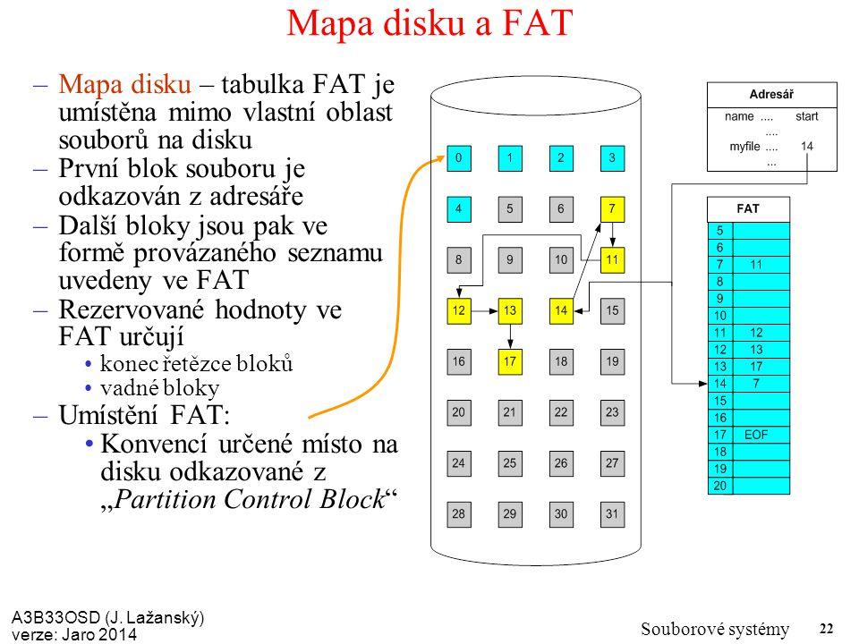 A3B33OSD (J. Lažanský) verze: Jaro 2014 Souborové systémy 22 Mapa disku a FAT –Mapa disku – tabulka FAT je umístěna mimo vlastní oblast souborů na dis