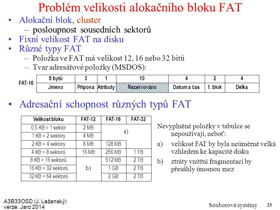 A3B33OSD (J. Lažanský) verze: Jaro 2014 Souborové systémy 23 Problém velikosti alokačního bloku FAT Alokační blok, cluster –posloupnost sousedních sek