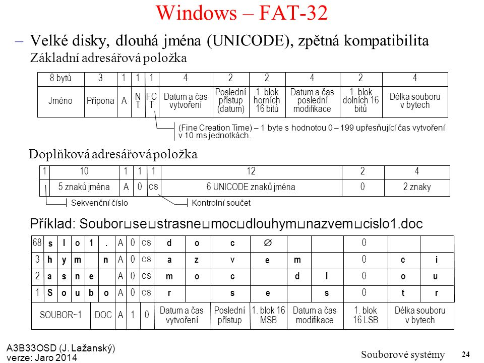 A3B33OSD (J. Lažanský) verze: Jaro 2014 Souborové systémy 24 Windows – FAT-32 –Velké disky, dlouhá jména (UNICODE), zpětná kompatibilita Datum a čas p