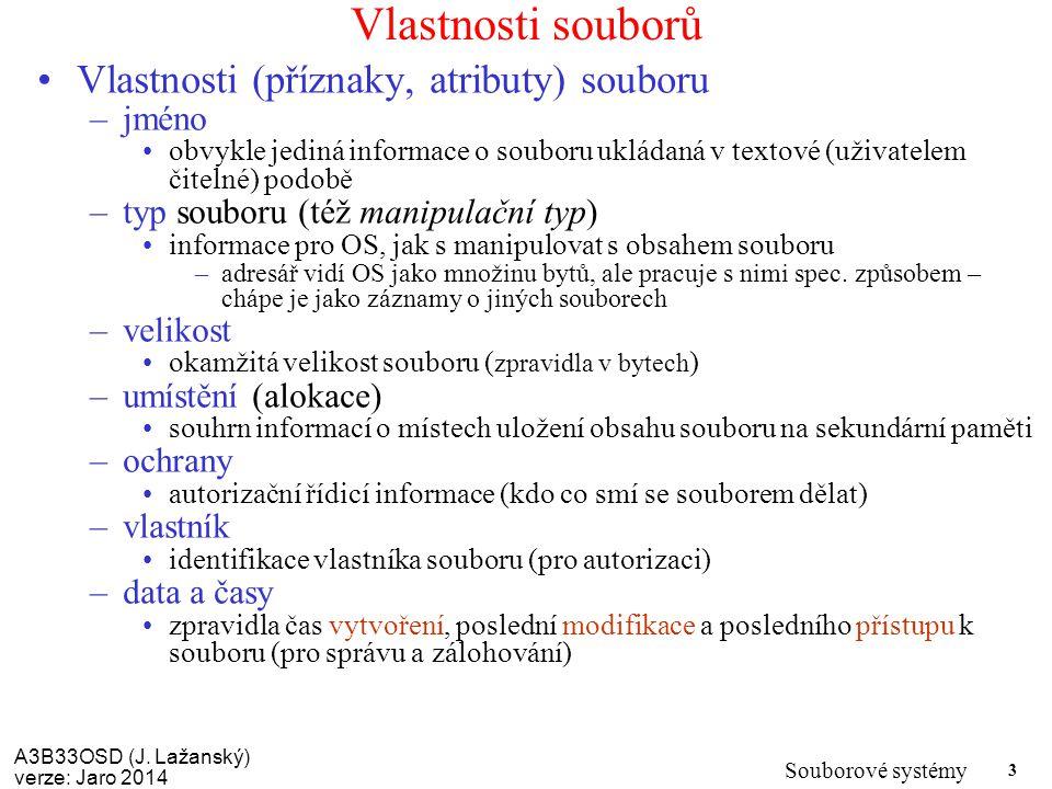A3B33OSD (J. Lažanský) verze: Jaro 2014 Souborové systémy 3 Vlastnosti souborů Vlastnosti (příznaky, atributy) souboru –jméno obvykle jediná informace