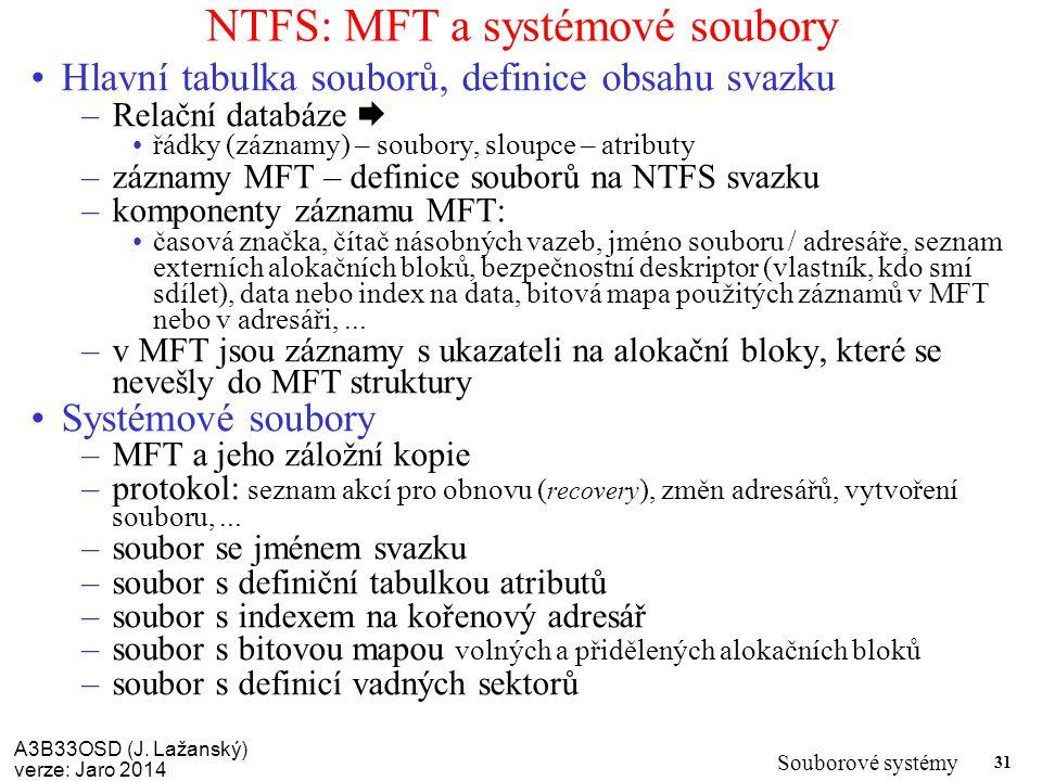 A3B33OSD (J. Lažanský) verze: Jaro 2014 Souborové systémy 31 NTFS: MFT a systémové soubory Hlavní tabulka souborů, definice obsahu svazku –Relační dat