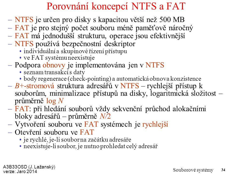 A3B33OSD (J. Lažanský) verze: Jaro 2014 Souborové systémy 34 Porovnání koncepcí NTFS a FAT –NTFS je určen pro disky s kapacitou větší než 500 MB –FAT