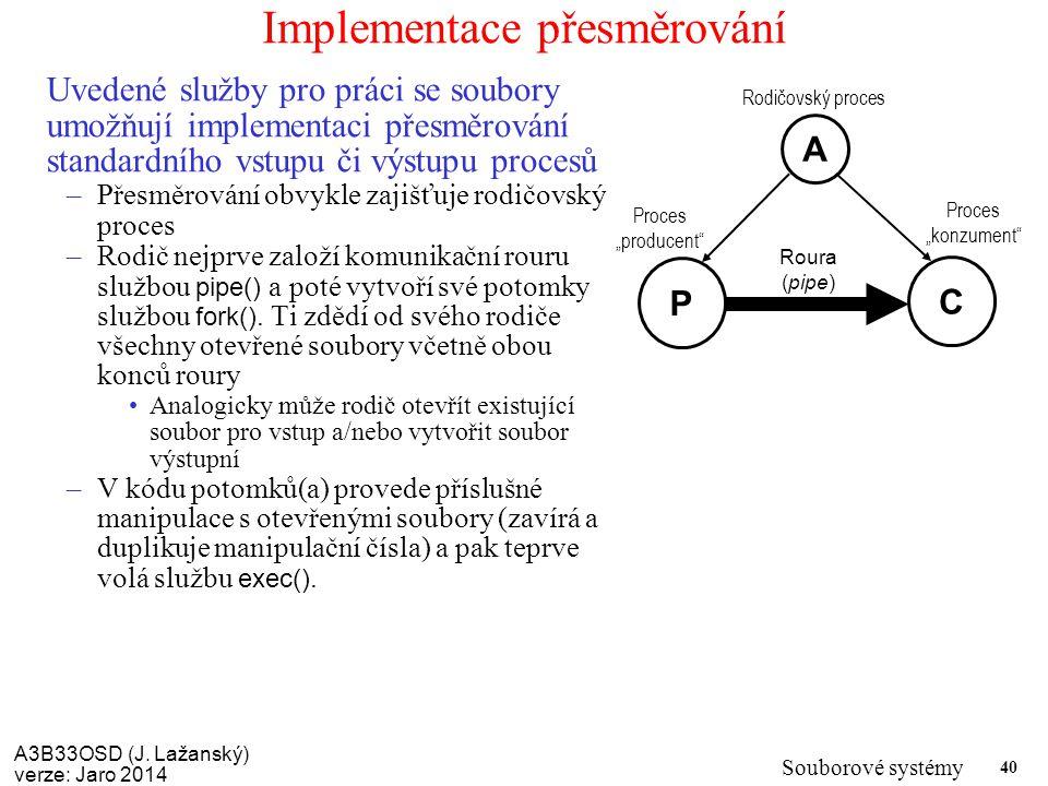 A3B33OSD (J. Lažanský) verze: Jaro 2014 Souborové systémy 40 Implementace přesměrování Uvedené služby pro práci se soubory umožňují implementaci přesm