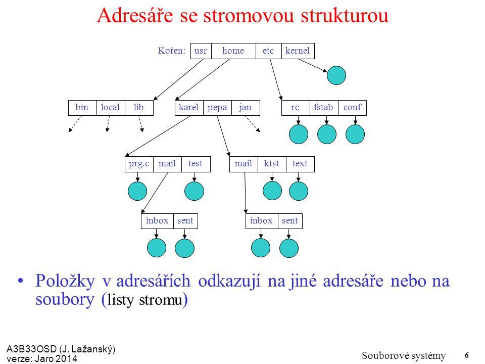 A3B33OSD (J. Lažanský) verze: Jaro 2014 Souborové systémy 6 Adresáře se stromovou strukturou Položky v adresářích odkazují na jiné adresáře nebo na so
