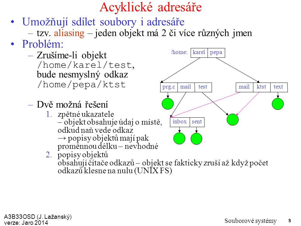 A3B33OSD (J. Lažanský) verze: Jaro 2014 Souborové systémy 8 Acyklické adresáře Umožňují sdílet soubory i adresáře –tzv. aliasing – jeden objekt má 2 č