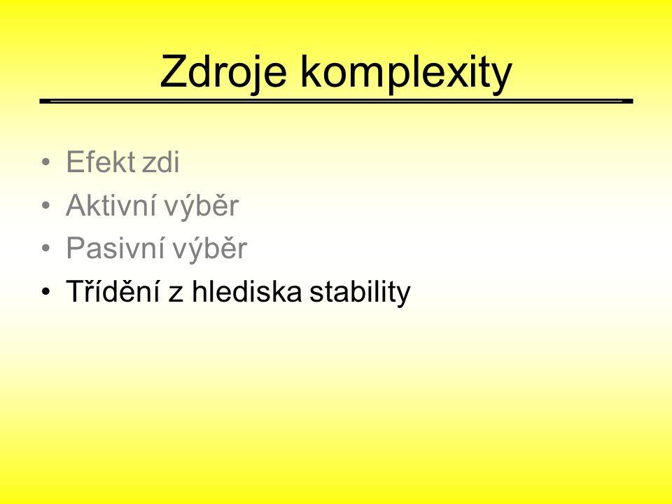 Zdroje komplexity Efekt zdi Aktivní výběr Pasivní výběr Třídění z hlediska stability